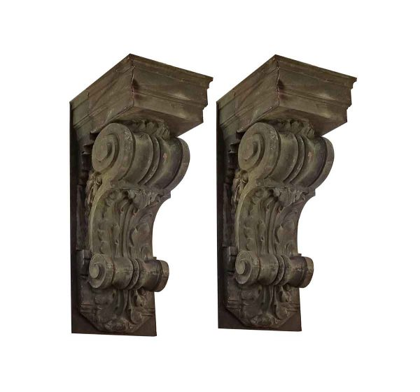 Corbels - Pair of Huge 60 in. Antique Copper Corbel Brackets