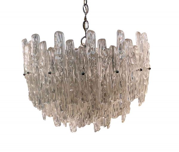 Down Lights - 1970s Mid Century Modern Lucite Icicle Crystal Pendant Light
