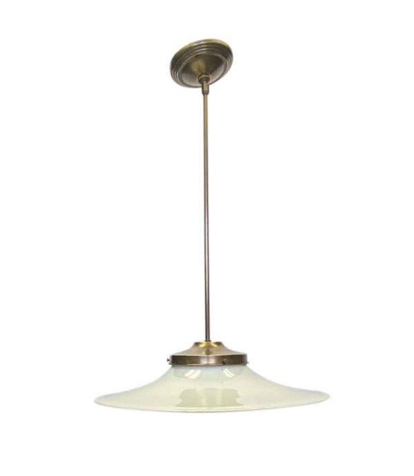 Down Lights - Custom 1910 Flat Brim 18 in. Milk Glass Pendant Light