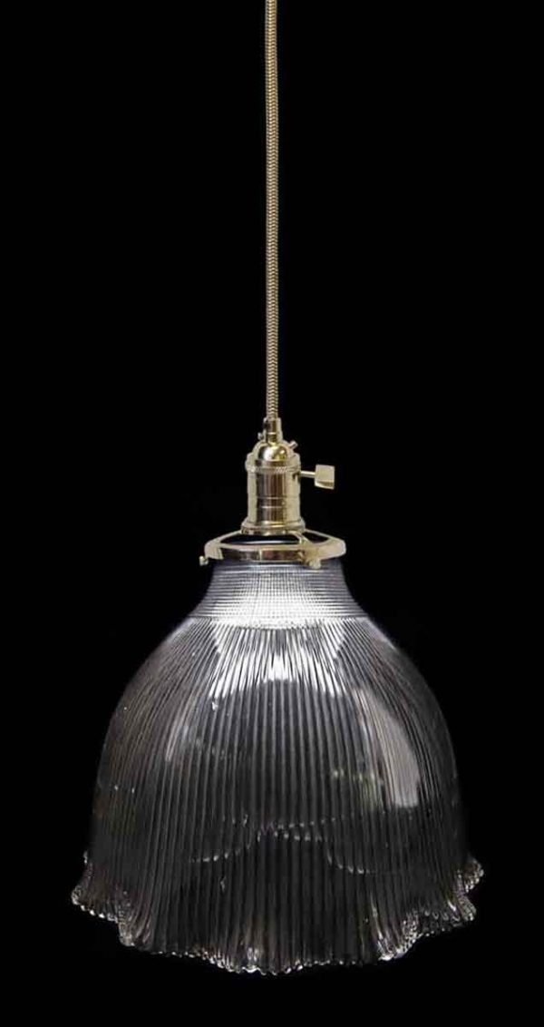 Down Lights - Custom Antique 10.875 in. Clear Holophane Pendant Light