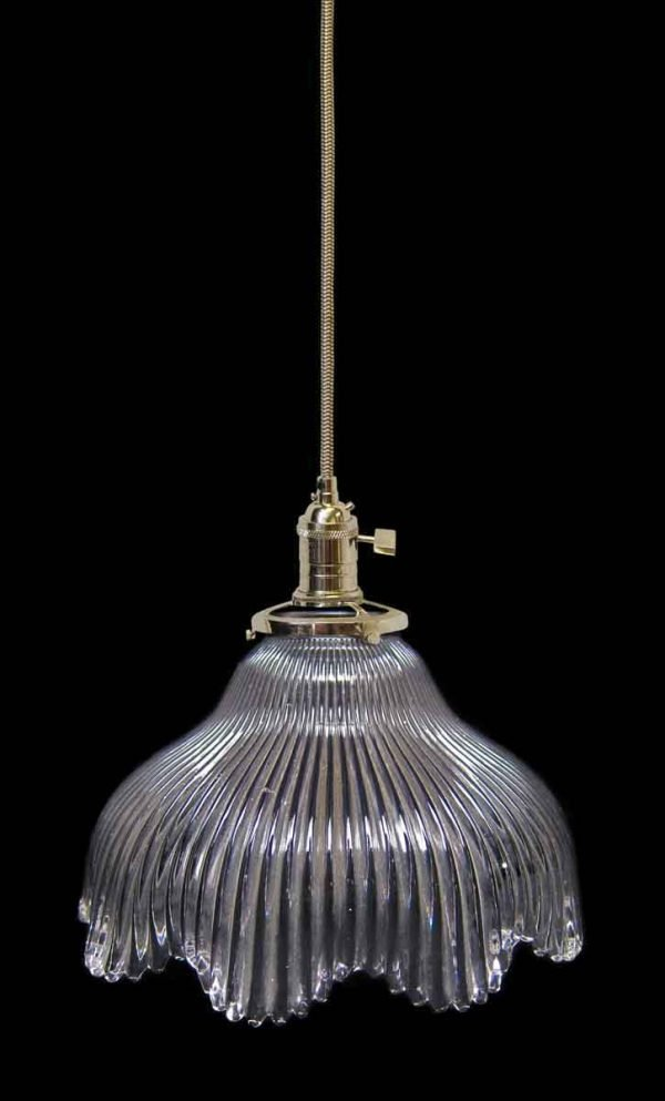 Down Lights - Custom Antique 8 in. Clear Glass Holophane Pendant Light