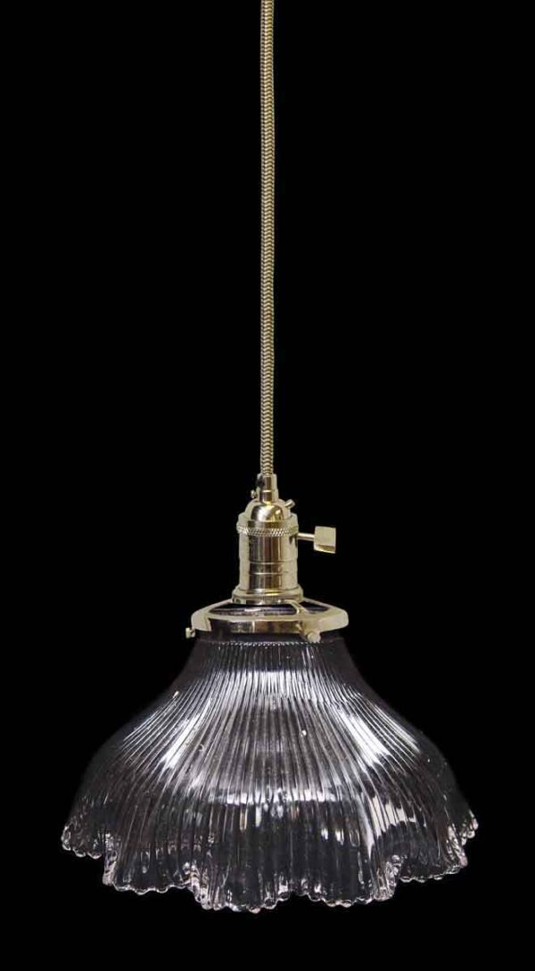 Down Lights - Custom Antique Clear 6.125 in. Holophane Glass Pendant Light