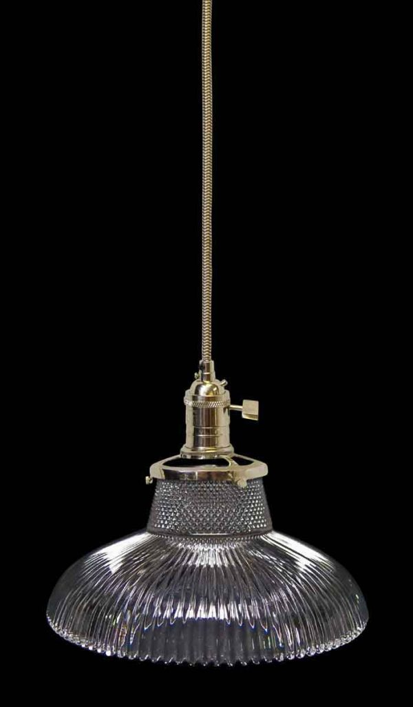 Down Lights - Custom Antique Clear 6.25 in. Holophane Pendant Light