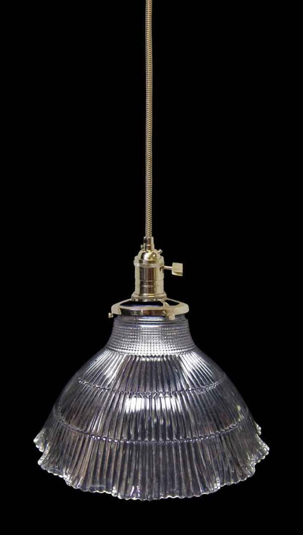 Down Lights - Custom Antique Clear 7.5 in. Holophane Shade Pendant Light