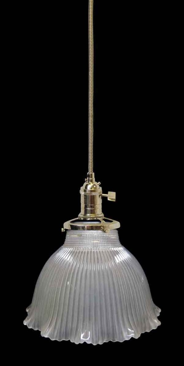 Down Lights - Custom Antique Frosted 6 in. Glass Holophane Pendant Light