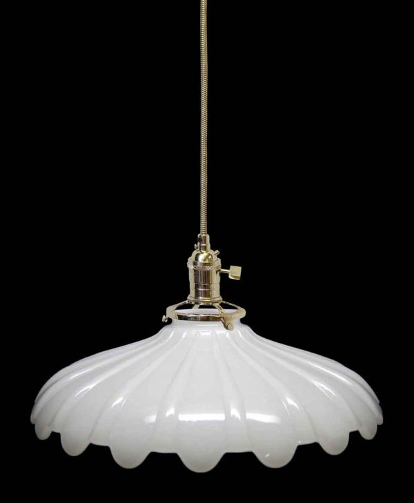 Down Lights - Custom Antique White Milk Glass 10.5 in. Pendant Light
