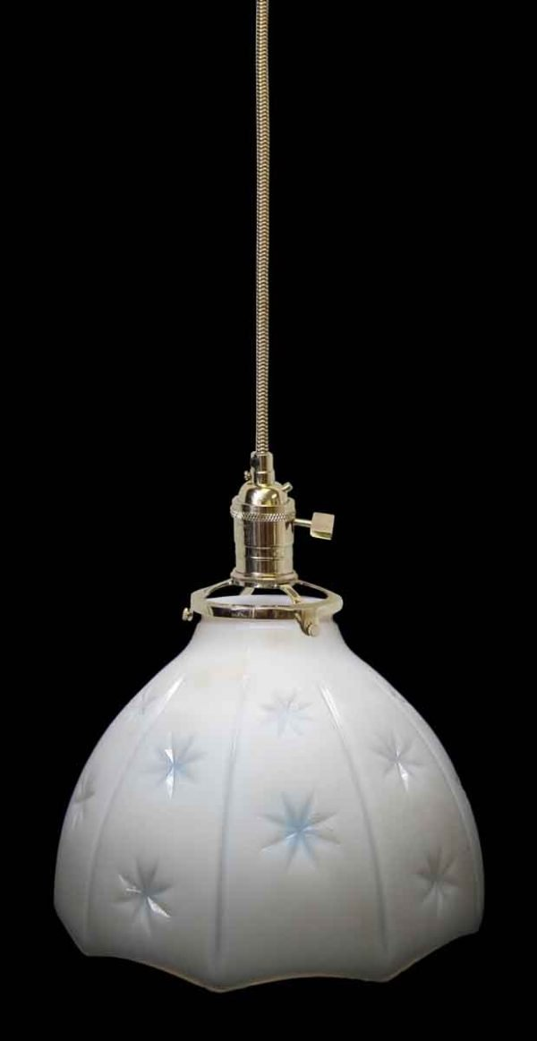 Down Lights - Custom Vintage Star Milk Glass 7.125 in. Pendant Light
