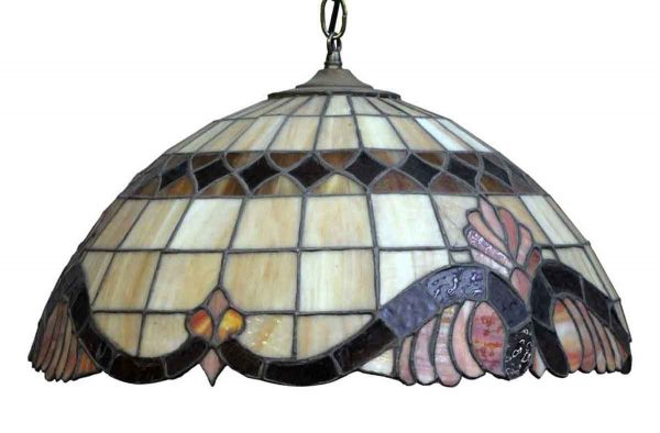 Down Lights - Traditional Tiffany Style Brown & Beige Stained Glass Pendant Light
