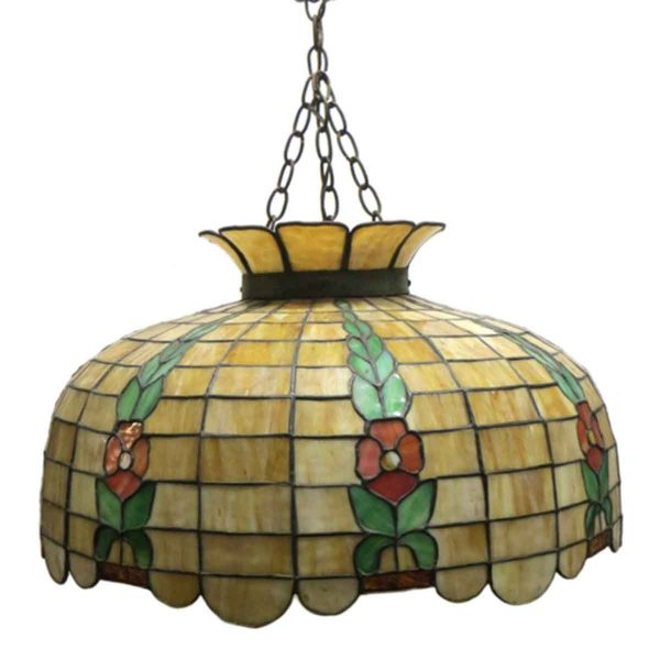 Down Lights - Vintage Tiffany Style Shade Floral Pendant Light