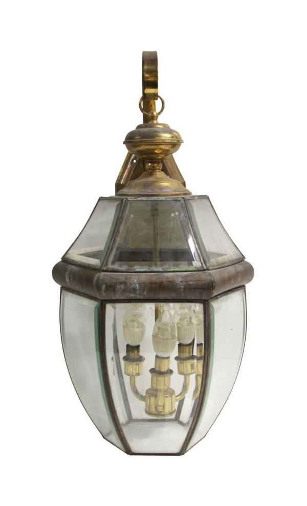 Exterior Lighting - Antique Traditional Glass & Brass Exterior Lantern Wall Sconce