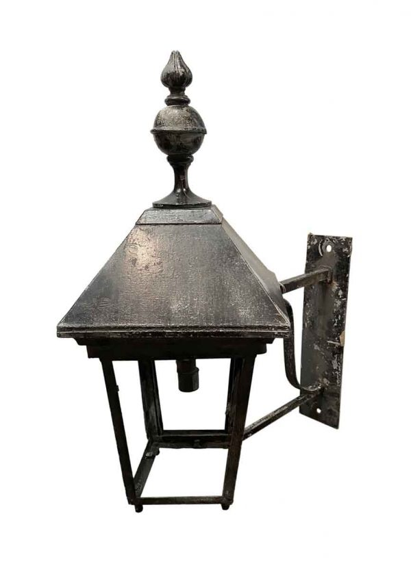 Exterior Lighting - Early 20th Century Pair of Large Black Tole Outdoor Sconces