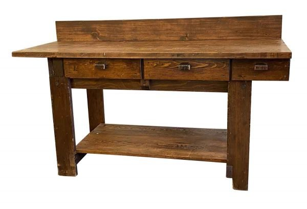 Industrial - Antique 6 Foot Pine Work Bench Table