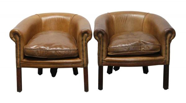 Living Room - Pair of Knightsbridge Leather Studded Club Chairs