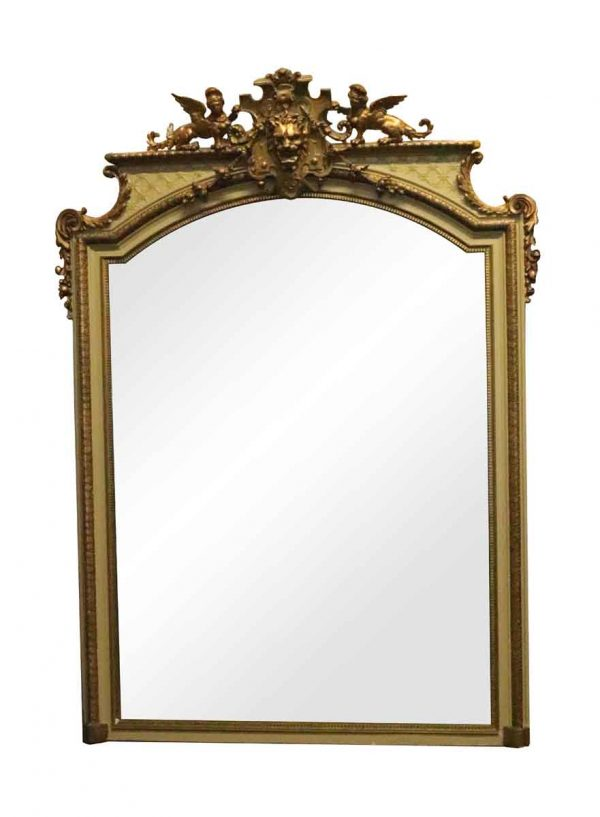 Overmantels & Mirrors - Antique French Over Mantle Mirror with Griffins