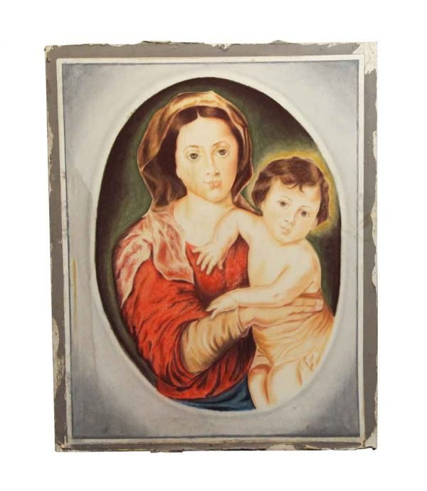 Paintings - Vintage Madonna & Child Painted on Sheet Rock