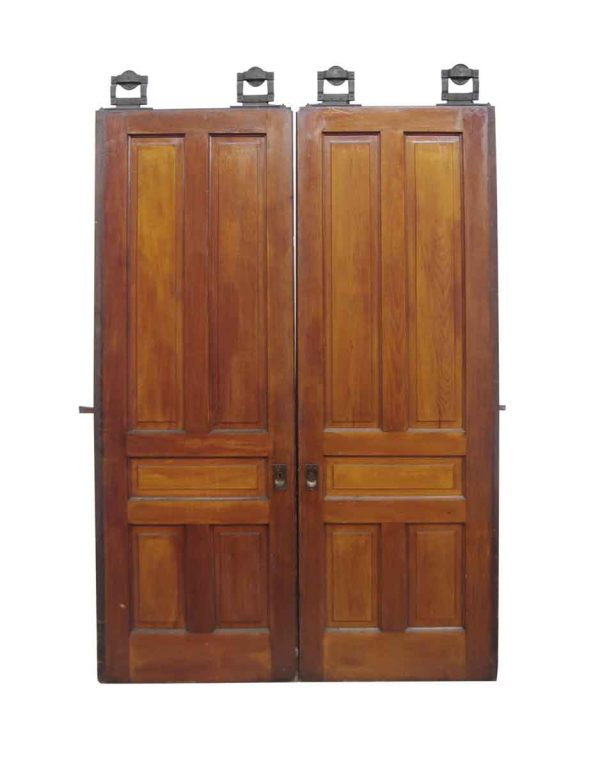 Pocket Doors - Antique 5 Pane Pocket Double Doors 89.5 x 62.5