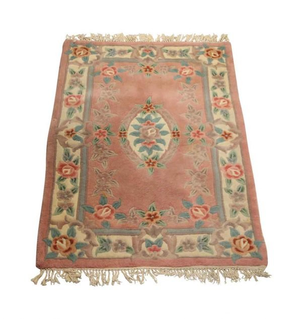 Rugs & Drapery - Rose Pink Plush 6 ft x 3.5 ft Floral Area Rug