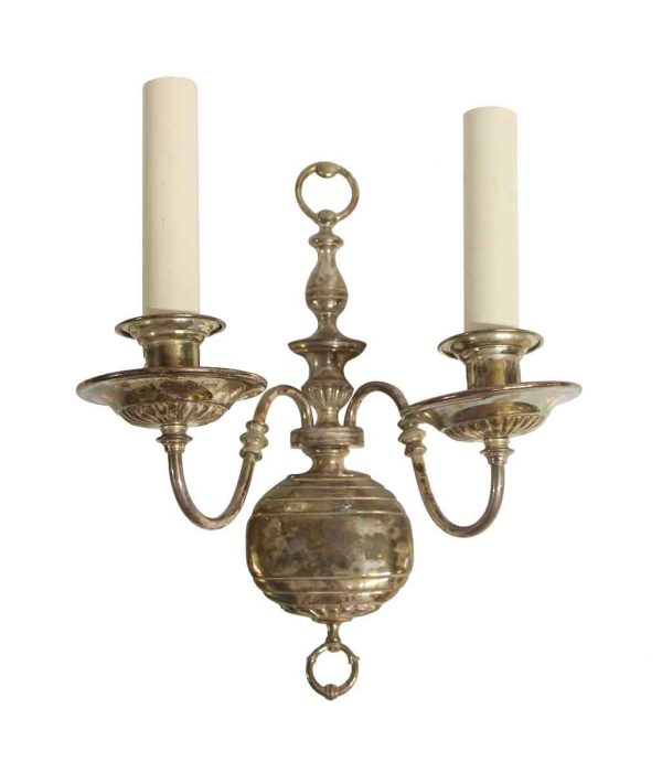 Sconces & Wall Lighting - Antique Silver Plated Brass English Regency Wall Sconce