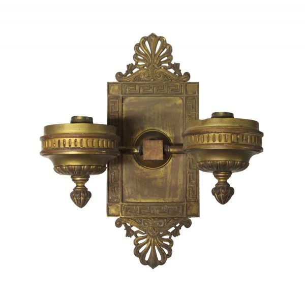 Sconces & Wall Lighting - Neoclassical Greek Key Bronze Bank Wall Sconce
