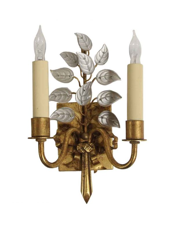 Sconces & Wall Lighting - New Bagues Style Gold Leaf Wrought Iron & Crystal Sconce