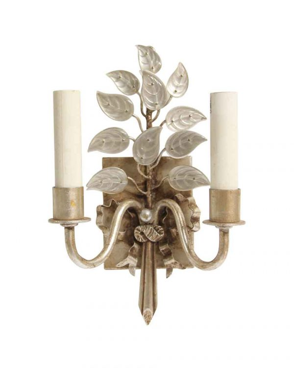 Sconces & Wall Lighting - New Bagues Style Silver Leaf Finish Wall Sconce