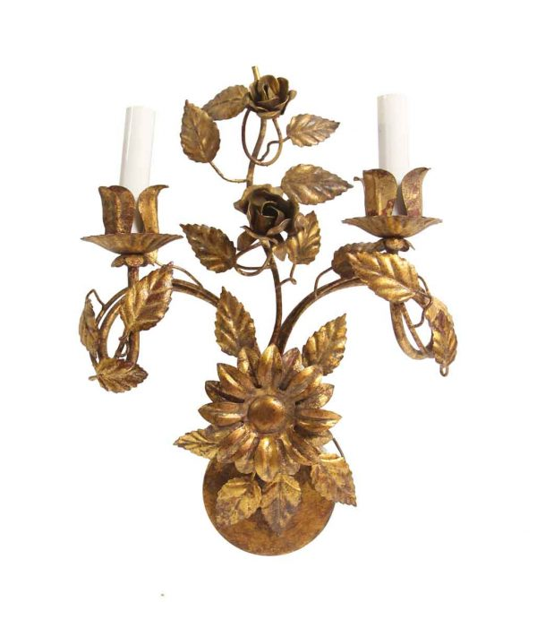 Sconces & Wall Lighting - New Made Gilded Wrought Iron Floral Wall Sconce