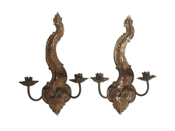 Sconces & Wall Lighting - Pair of French Provincial Wooden Candle Sconces