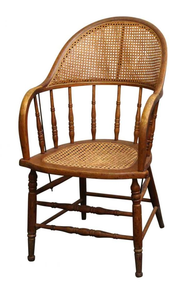Seating - Large Spindle Back Wood & Wicker Chair
