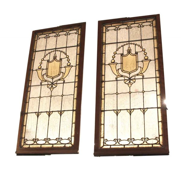 Stained Glass - Pair of Jeweled Stained Glass Windows