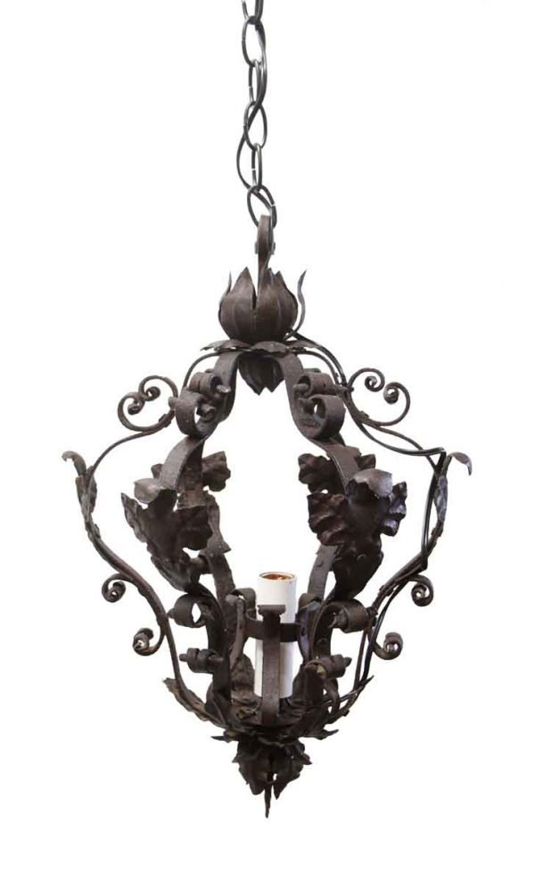 Wall & Ceiling Lanterns - Antique French Hand Forged Wrought Iron Lantern