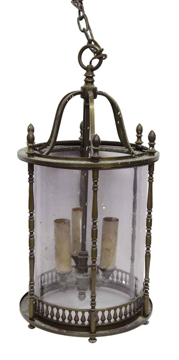 Wall & Ceiling Lanterns - Brass & Glass Cylinder Shaped Lantern