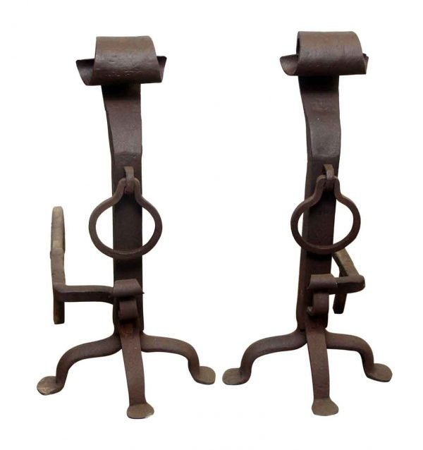 Andirons - Wrought Iron Craftsman Andirons with Rings