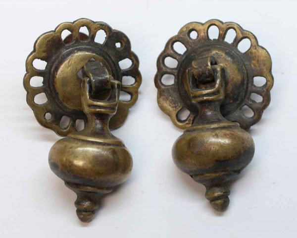 Cabinet & Furniture Pulls - Antique Traditional Brass Pair of Drop Drawer Pulls