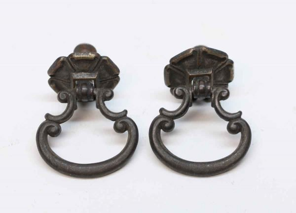 Cabinet & Furniture Pulls - Antique Traditional Pair of Brass Drop Pulls