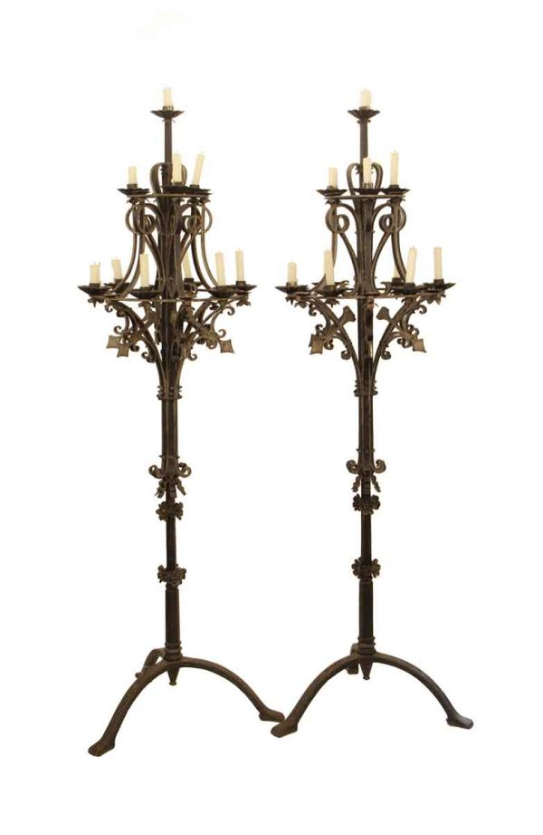 Candelabra Lamps - Pair of Gothic Wrought Iron Candelabra Floor Lamps