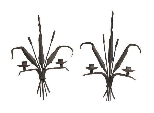Candle Holders - Antique French Hand Forged Wheat Motif Candle Sconces