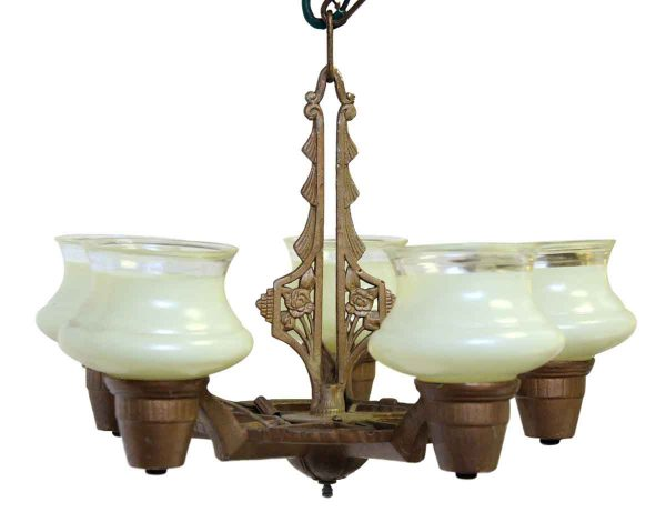 Chandeliers - Antique Iron Eastlake Chandelier with Glass Shades
