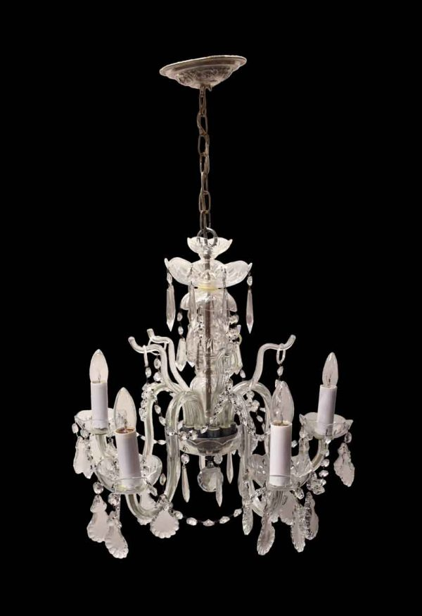 Chandeliers - Early 20th Century Petite 5 Arm Crystal Chandelier