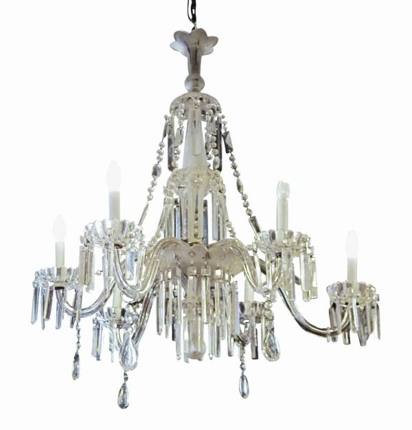 Chandeliers - Restored French Frosted & Cut Glass & Crystal Chandelier