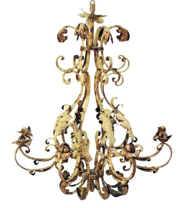 Chandeliers - Wrought Iron Floral and Foliage Chandelier 8 Arm