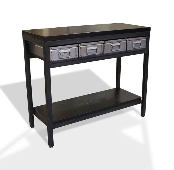 Coffee & Side Tables - Custom Reclaimed Pine Top Console Table with Steel Drawers