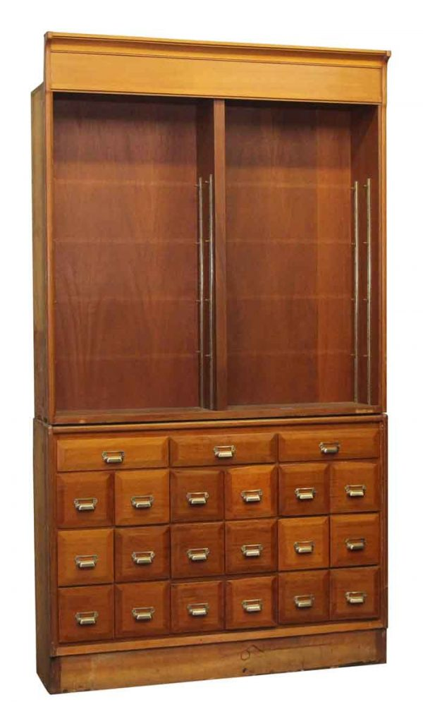 Commercial Furniture - Reclaimed Walnut Apothecary Wall Display Showcase with Drawers