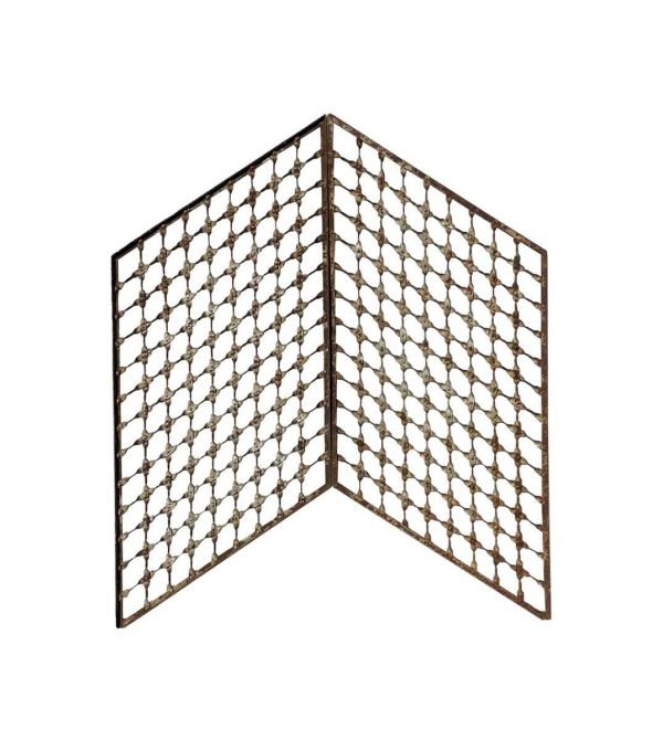 Decorative Metal - Pair of Woven Wrought Iron Elevator Panels or Trellis