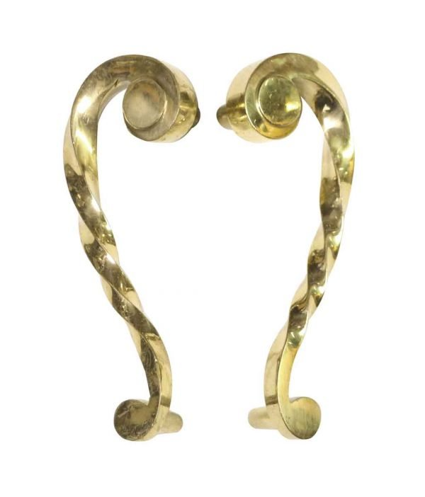 Door Pulls - Pair of Polished Brass Swirl Twist Door Pulls