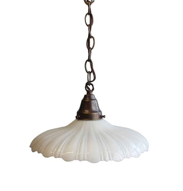 Down Lights - 1910s Large Scalloped Milk Glass Pendant Light