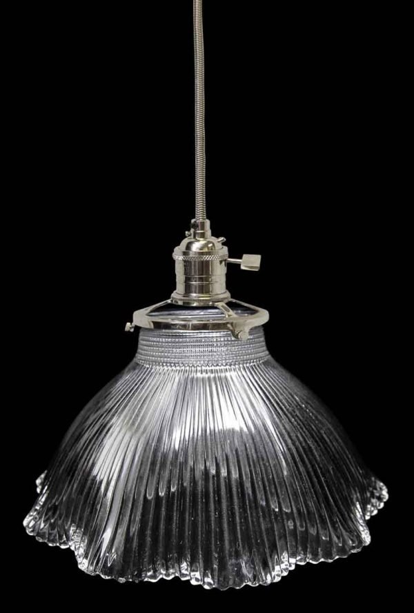 Antique 1920s 6.5 in. Glass Holophane Pendant Light