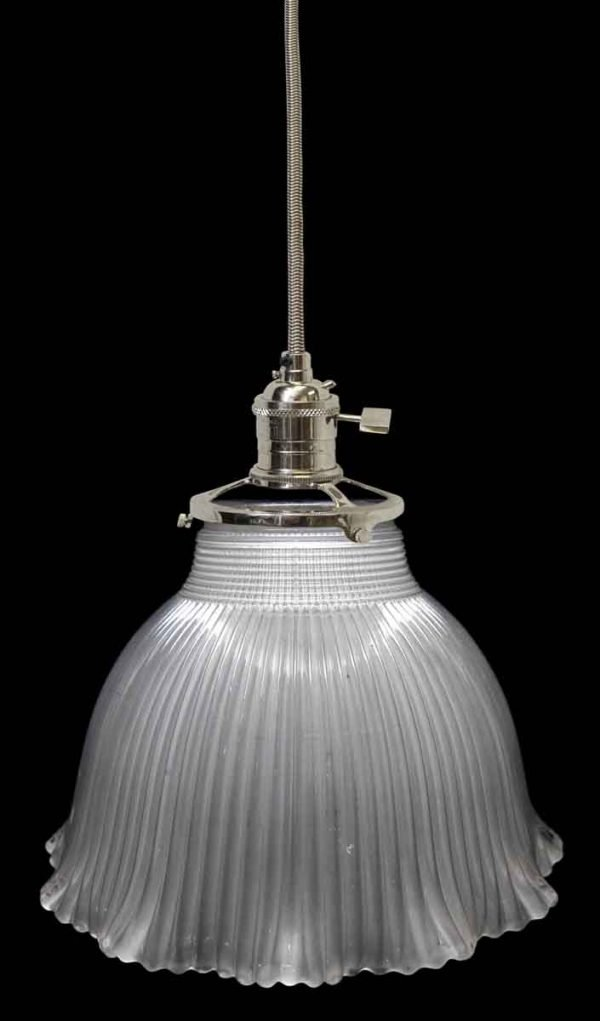 Custom 1920s 6 in. Holophane Glass Pendant Light