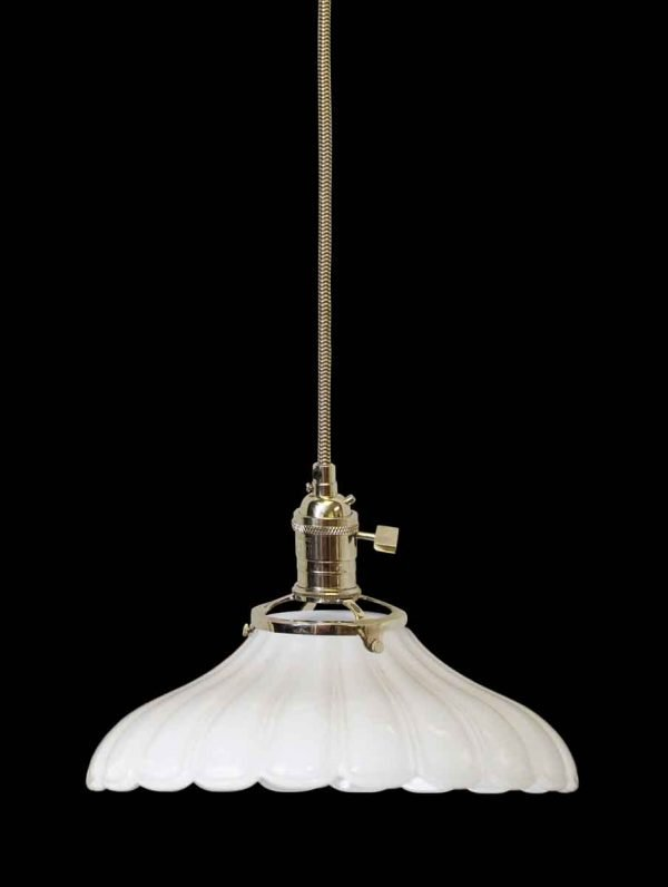 Custom 1920s Antique White Milk Glass 8 in. Pendant Light