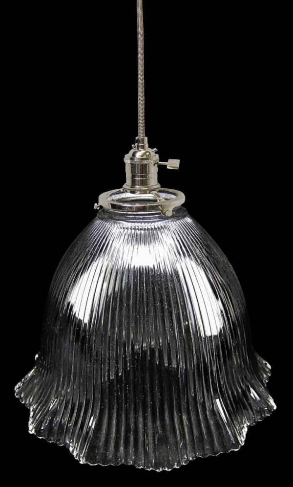 Custom 1920s Holophane 7.875 in. Prism Glass Pendant Light