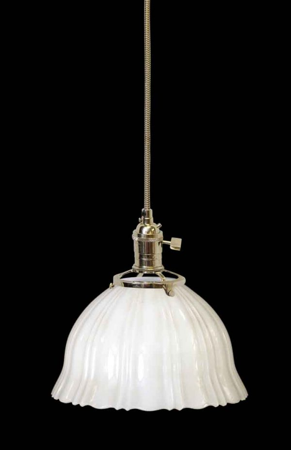 Custom Antique 8.25 in. White Milk Glass Pendant Light